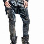 Dark blue denim in stretch dirty wash effect with pintucking n leather detail
