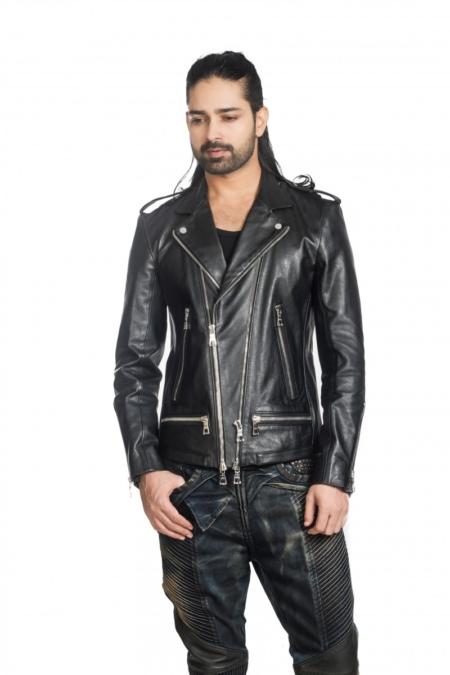 flap leather jacket by Asa Kazingmei