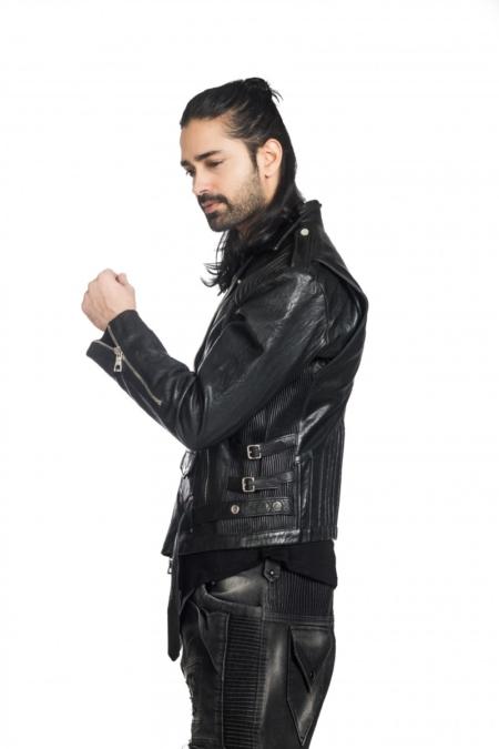 Crushed flap leather jacket