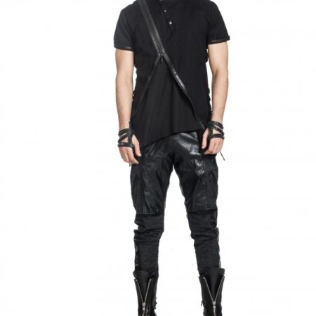 Black Cotton Linen T Shirt