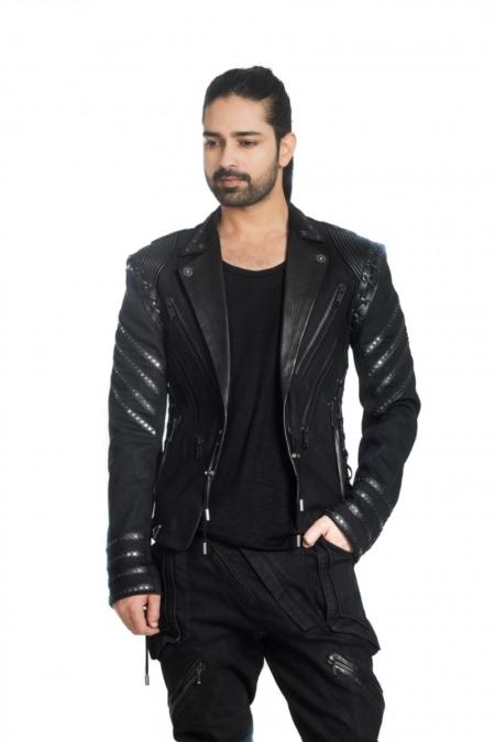 Black leather denim details lace tie up jacket