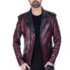 Stylish burgundy designer Flap jacket