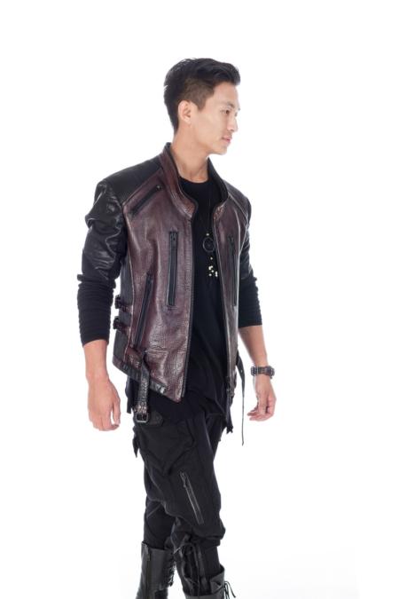 dark maroon leather jacket