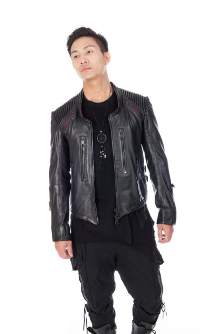Dropping Collar Black Designer Jacket with black metal zipper