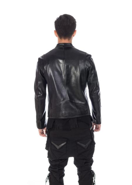 Classy Black Designer Leather Jacket with back Arm Cut